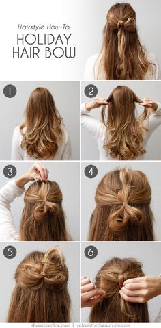 Hairstyle How-To: Holiday Hair Bow | Divine Caroline & Yet another beauty site #hair #hairstyle #hairtutorials #bow #hairbow