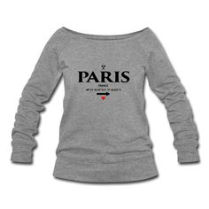 Paris - France I Love von Black Sign Artwork (Frauen Pullover mit U-Boot-Ausschnitt von Bella