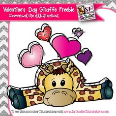 Valentine's Day Giraffe with hearts!  High resolution commercial and personal use clipart by Ta-Doodles Illustrations.