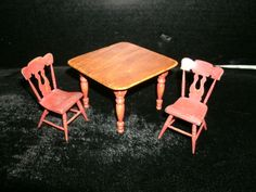 Cindy Malon Dollhouse Miniature Artisan Table & 2 Chairs