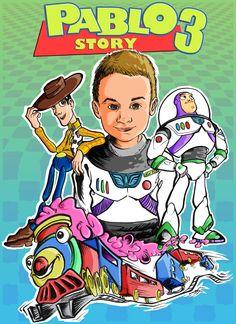 Regalo para el tercer cumpleaños de mi sobrino Pablo, sobre una idea de mi hermana en la que se mezclaba el universo de Toy Story con uno de los juguetes preferidos del enano.