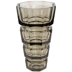 For Sale on - A very large, crystal vase in gray, designed by Josef Hoffmann for Moser Glassworks, circa 1935 to This vase is in very good condition, consistent Crystal Vase, Decorative Objects, Modern Vases, Shot Glass, Glass Art, Gray, Crystals, Antiques, Tableware
