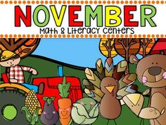 November Math and Literacy Centers are full of fun hands-on math and literacy centers that are perfect for your kindergartners to help build a strong foundation in math, number sense and literacy skills.