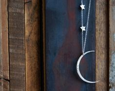 Seeing The Dark Side of the Moon Necklace with Two Stars and Custom Initials- Large Hammered Crescent Moon Shape. $79.00, via Etsy.
