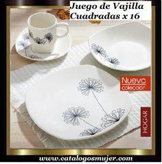Juego de Vajilla de Porcelana x 16 color: BLANCO Y NEGRO Elaborado en porcelana fina con diseños en negro *60%* Oferta S/. 59.90