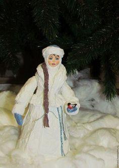 Сказочные персонажи ручной работы. Ярмарка Мастеров - ручная работа. Купить Снегурочка - большая под ёлочку, из ваты. Handmade. Белый