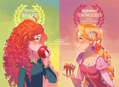 New Disney princesses: Merida and Rapunzel Disney Pixar, Disney Magic, Disney Nerd, Disney Fan Art, Cute Disney, Disney Dream, Disney Girls, Disney Animation, Disney And Dreamworks