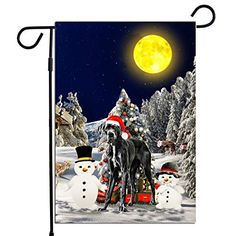 PrintYmotion Great Dane Dog with Snowman Christmas Holidays Garden Flag, Dog Lovers Gift (12 x 18 Inches) PrintYmotion #Great Dane #Dog Lovers gift #Christmas Gift #Christmas Flag
