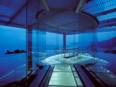 """Water / Glass ATAMI Kaihourou 8-33 Kasuga-cho, Atami-shi, Shizuoka, Japan 1995.03 Japanese Style Hotel (build as a private guest house) 1,125.19m2 The design of this villa was influenced greatly by """"Hyuga"""" Villa, the sole project which Bruno Taut had left in Japan. The design also gained influences by the philosophies of Taut. Taut's stay in Japan lasted from 1933 until 1936. Meanwhile, his praise over Katsura Palace was ever-lasting. The reasoning for his commendation lied in the fact"""