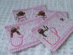 Shabby Pink Mary Rose Fabric Applique Embroidered Gingerbread  Mug Rug Coaster Cottage Chic Set Of 4. $29.95, via Etsy.
