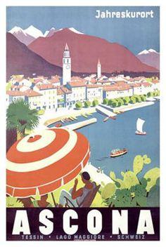 Ascona, altes schönes Plakat, von dem ich eine Postkartenversion zuhause habe.