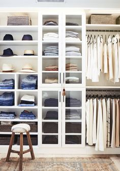 Organized bedroom Closet with a mix of shelves and Rods for Hanging via Studio McGee and Justin Coit. More closet design tips, closet decor ideas, and closet organization ideas this way. Diy Dressing, Small Dressing Rooms, Studio Mcgee, Apartment Closet Organization, Organization Ideas, Clothing Organization, Magazine Deco, Creative Closets, Front Closet