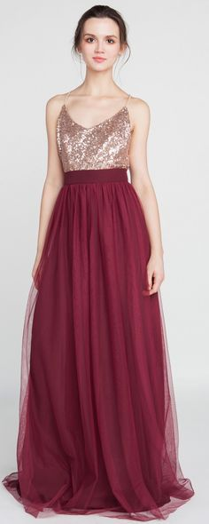 rose gold and burgundy bridesmaid dresses #bridalparty #wedding #bridesmaiddresses