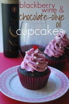 Blackberry Wine & Chocolate-Olive Oil Cupcakes.
