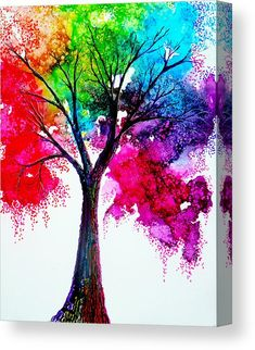 Rainbow Tree Canvas Print by Ann Marie Bone. All canvas prints are professionally printed, assembled, and shipped within 3 - 4 business days and delivered ready-to-hang on your wall. Choose from multiple print sizes, border colors, and canvas materials. Rainbow Art, Art Painting, Tree Painting Canvas, Tree Painting Easy, Wall Art Painting, Tree Art, Amazing Art Painting, Rainbow Painting, Canvas Art