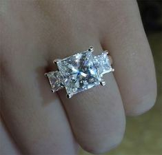 Huge Princess cut diamond engagement ring