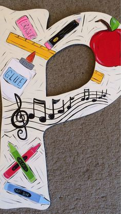 Teacher themed letter by JAGARToriginals on Etsy Teacher Door Hangers, Teacher Doors, Painted Letters, Wood Letters, School Gifts, Student Gifts, Art Room Doors, Teacher Name Signs, Classroom Charts