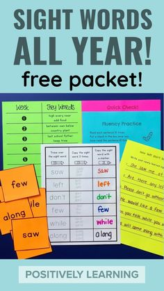 Sight word practice for the ENTIRE year! Add these pages to centers or send home. Download this free packet from Positively Learning Blog #sightwords #frywords #sightword