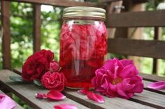 Fresh Rose Petal Infused Vinegar - for hair rinse, bug bites, etc., etc.
