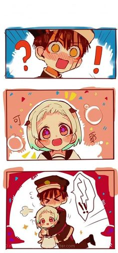 Hanako kun found his angel smol! Credit to artist, the people who pinned this, and you! I would love to see what the characters looked like when they were little! -------------- Do you call him Amane, Yugi, or Hanako? Dibujos Anime Chibi, Anime Amor, Ghost Boy, Cute Anime Wallpaper, Estilo Anime, Cute Anime Pics, Yandere, Anime Couples, Anime Characters