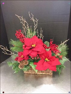 Rustic Red Poinsettia Custom Floral By Andrea For Michaels Round Rock Christmas Flower Arrangements, Christmas Flowers, Christmas Makes, Noel Christmas, Rustic Christmas, Floral Arrangements, Christmas Wreaths, Christmas Crafts, Christmas Ornaments