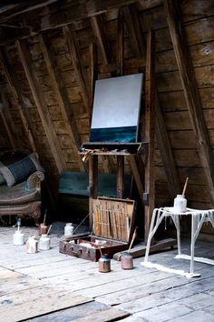 artsist studio, loft, wooden room beams,   COPYRIGHTED IMAGE. Please credit paul raeside