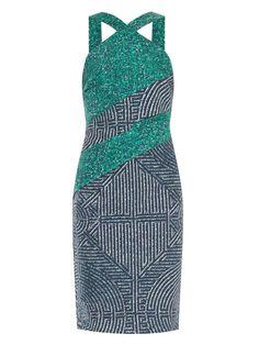 Dion Lee Cutaway Printed Silk Dress in Multicolor (GREEN MULTI)