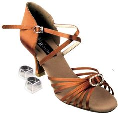 Very Fine Women's Salsa Ballroom Tango Latin Dance Shoes Style CD2030 Bundle with Plastic Dance Shoe Heel Protectors, Dark Tan Satin 7 M US Heel 2.5 Inch Ultra lightweight, comfy and dependable quality