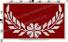 Cross Stitch Designs, Cross Stitch Patterns, Crochet Patterns, Thread Crochet, Filet Crochet, Beaded Embroidery, Cross Stitch Embroidery, Embroidery Stitches Tutorial, Red Pattern
