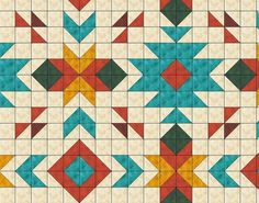 Southwest Quilt Pattern - Southwest quilt - Nativ American quilt - Full size: x 96 .Southwest inspired Quilt Pattern Full size 80 x by QuiltPatterns -it's all hstsThis Quilt uses the design elements and the beautiful colours of the Southwest design, which Quilt Block Patterns, Quilt Blocks, Modern Quilt Patterns, Quilting Projects, Quilting Designs, Quilting Ideas, Illustration Vector, Illustrations, Southwestern Quilts