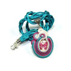 Soutache Necklace. Pendant. Turquoise necklace. Turquoise and magenta Necklace. Magenta butterfly.. $55.00, via Etsy.