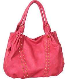 "Purse Boutique: Fuchsia Studded L ""Tisdale"" Slouchy Tote, Purses"