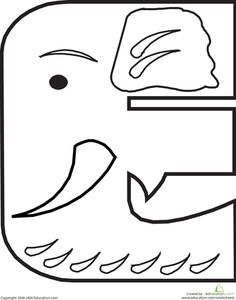 "Coloring Sheet: ""E"" is for Elephant"