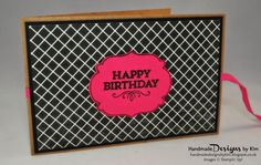 HANDMADE DESIGNS BY KIM Handmade birthday card using Flashback Designer Series Paper, Kraft cardstock, Melon Mambo cardstock and ribbon and other Stampin' Up! products