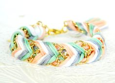 Iced Mint & Peaches friendship bracelet #handmade
