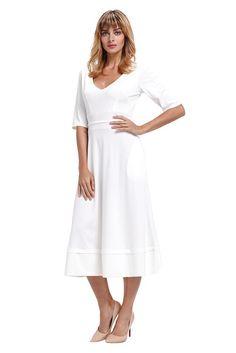 b54f22740839 White Half Sleeve V Neck High Waist Flared Dress