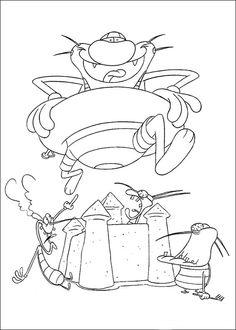 Oggy Tegninger til Farvelægning. Printbare Farvelægning for børn. Tegninger til udskriv og farve nº 5