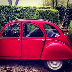 Enamored with this little red car (with houndstooth upholstery!)