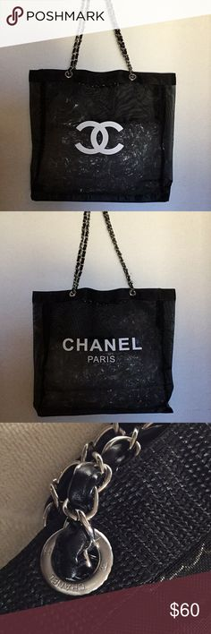 "Authentic Chanel Silver Chain Tote Bag VIP Rare VIP gift items to selected Chanel Beaute VIP customer in the department store.   This shopping tote is in black mesh with CC printed in front and CHANEL PARIS in back side. It does not comes with gift box, packaging, nor card as they are made exclusively for Chanel skincare/beaute customers.  It has a size approximately 15"" x 14"" x 4"" and the silver hard wear strap drop is 11""  Magnetic closure on the top. CHANEL Bags Totes"