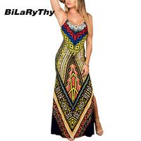 Summer Bohemian Style Fashion Women Dresses Spaghetti Straps Side Split Backless Long Maxi Dress Digital Printing Woman Clothes