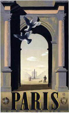 1932 Paris:  Place de la Concorde and the Arc de Triomphe