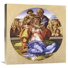 "Global Gallery 'Doni Tondo' by Michelangelo Painting Print on Wrapped Canvas Size: 24"" H x 24"" W x 1.5"" D"