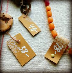 Lorelei's Blog: Price Tags - kraft paper, rubber stamping, brads, cord