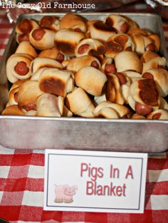 What's a barnyard birthday party without barnyard party food–a sad situatio… What's a barnyard birthday party without barnyard party food–a sad situation. So, here's a fun way to make Pigs in a Blanket more enjoyable. What's a barnyard birthday party. Rodeo Birthday, Farm Birthday, Birthday Ideas, Country Birthday Party, Cowboy Birthday Party, Third Birthday, Country Hoedown Party, Birthday Party Foods, Redneck Birthday