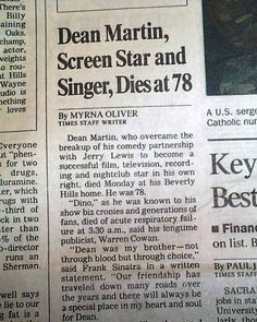 """The middle of the front page has a one column heading: """"Dean Martin, Screen Star and Singer, Dies at 78 """" and includes a photo of him. 32 & includes an early photo of him with Jerry Lewis. """"King of Cool"""" - Jerry Lewis duo. Martin Movie, Dean Martin, Trivia Of The Day, Joey Bishop, Newspaper Front Pages, Celebrity Deaths, Jerry Lewis, Clint Eastwood, Cbs News"""