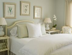 Soothing bedroom colors, sage green, white and cream. - Beach Master Bedroom deco ideas for aldy - Home Sage Bedroom, Green Master Bedroom, Pretty Bedroom, Master Bedrooms, Serene Bedroom, White Bedroom, Master Bath, Bedroom Colors, Bedroom Decor