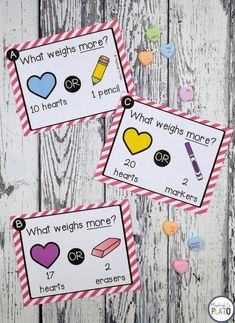 These Valentine's Day STEM Challenges are a must-try! Use a simple box of candy hearts to dive into weight, length AND science. Grab your pack in our shop or on Teachers Pay Teachers! Peek Inside The math and science Valentine's Day activities are perfect to use in STEM centers, math stations or as early finisher tasks. Students will compare 16 different combinations of candy hearts and common