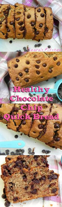 This Chocolate Chip Quick bread is soft, ooey-gooey + full of melty chocolate chips. It tastes AMAZING warm slathered in almond butter. It is 100% oil free, refined sugar free, made with spelt flour + vegan. - Ceara's Kitchen #healthy #healthybaking #oilfree #speltflour #chocolate #quickbread #refinedsugarfree
