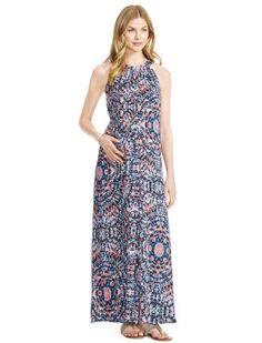 Web Only Jessica Simpson Sleeveless Lurex Stitching Maternity Maxi Dress