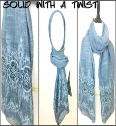 A beautiful Cotton & Linen Solid scarf, with a twist on the border! Available in other colors.